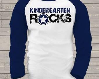 Back to school STUDENT shirt - kindergarten or any grade rocks back to school raglan shirt  mscl-078-r