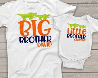 alligator big brother and little brother or sister matching sibling t shirts - mall-004-set