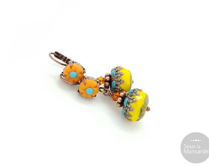 Dangle earrings orange and yellow, boho earrings, lever back earrings, colorful earrings