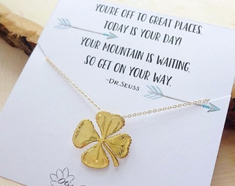 Back to school gift, graduation gift for her, lucky four leaf clover necklace, meaningful jewelry, shamrock charm necklace, good luck