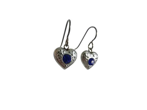 Blue rhinestone heart dangle earrings - Hypoallergenic pure titanium and stainless steel