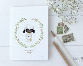 """greeting card - card -lamb -duckling - friends - birthday - thank you - thinking of you - """"Cherished Blessings!"""""""