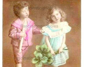 Vintage - LUCKY SHAMROCKS, Clovers - CHILDS - French Art Deco Photo Portrait, colored ,sepia Postcard- Holiday's Greetings -Good Condition