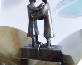 Vintage modernist brass art sculpture/ Dutch miniature set of two statues/ Dutch abstract human figures art object