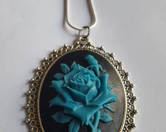 Blue Rose Cameo Necklace