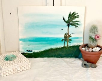 Vintage Watercolor | Folk Art Ocean Scene