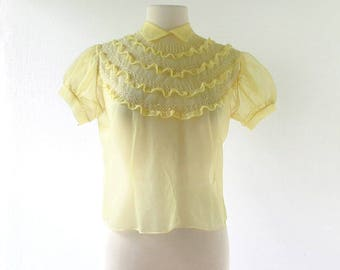 Vintage 1950s Blouse | Sheer Yellow Blouse | 50s Blouse | M L