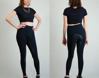 Black Pants Vintage Black Stretchy Knit Leather Jodphur Leggings Pants (s m)