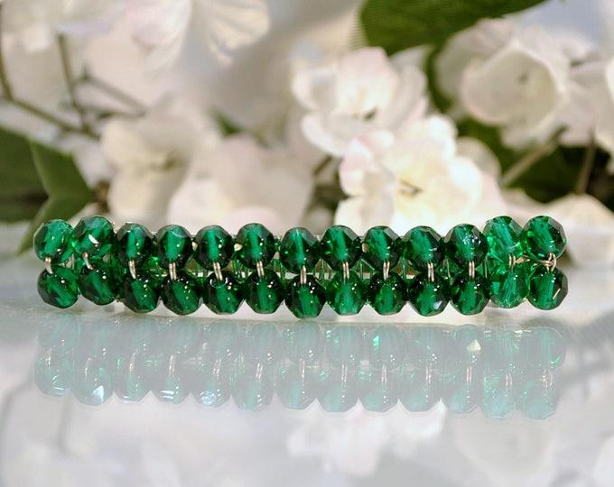 Green Barrette Crystal Barrette Beaded Barrette Handmade Barrette French Barrette Green Hair Clamp