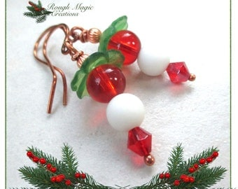 Christmas Flower Earrings, White Snowballs, Red Green Holiday Floral Theme, Last Minute Gift for Woman, Funky Stocking Stuffers for Her E496