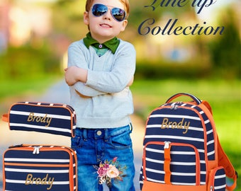 BOYS personalized backpack , Back To School , kids back pack , lunch box,  monogrammed backpack , BOYS backpack, lineup