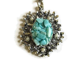 Turquoise & Faux Pearls Pendant Necklace Vintage
