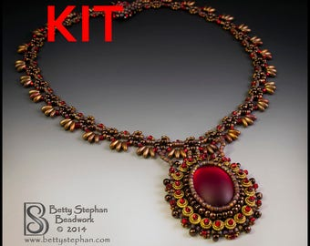 KIT- Red Meadow Dance Necklace beadweaving bead embroidery