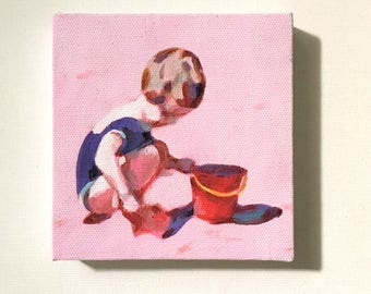 A girl with a red bucket- Tiny canvas print /art print / CHILDREN /  sea drawing-- wall hanging