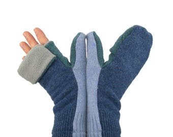 Mens Convertible Flip Top Mittens in Stormy Blues - Recycled Wool - Fleece Lined