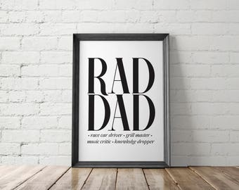 Dad Printable, Dad Gift, Gift for Him, Cool Dad Gifts, Rad Dad Printable, Father Printable, New Dad Gift, Gift for Dad, Birthday Gift