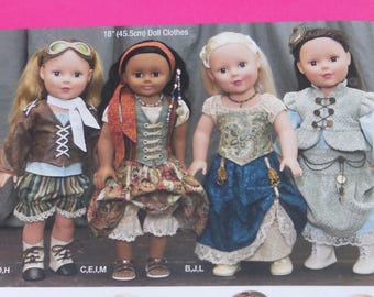 """Simplicity 1392 - Steampunk and Neo-Victorian Fashions for 18"""" Dolls Like American Girl - Pirate, Gypsy, Corset - DIY Gift Idea - UNCUT"""