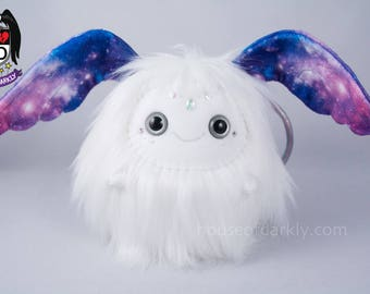 Celestial Flibble sprite wing eared creature in white with galaxy ears; Swarovski drop accent