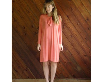 Coral Pink Ascot Tie Mini Dress - Vintage 90s - L/XL Petite