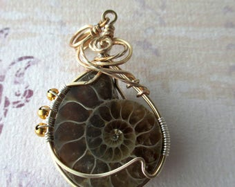 Wire Wrapped Ammonite pendant, Gold plated Ammonite wire wrap jewellery, Ammonite pendant, Fossil Jewellery (bjw06)