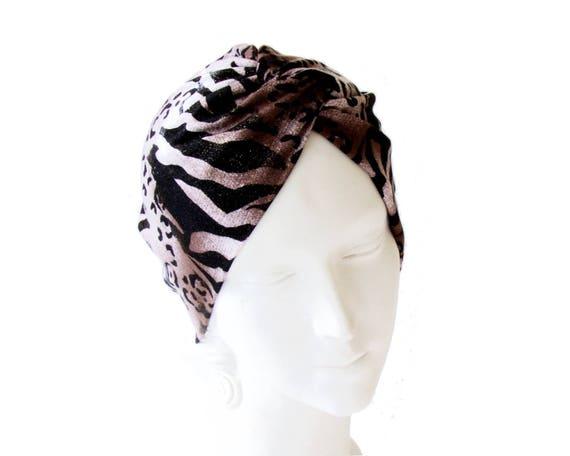 Full Turban Animal Print Headscarf Boho Chic Hair Scarf Hippie Chic Festival Wear Chemo Cap Doo Rag Retro Hair Snood Tiger Print 1940s Hat