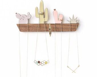 Cactus Window Box Jewelry Display, Cactus Jewelry Organizer, Jewelry Hanger, Jewelry Holder, Wooden Home Decor