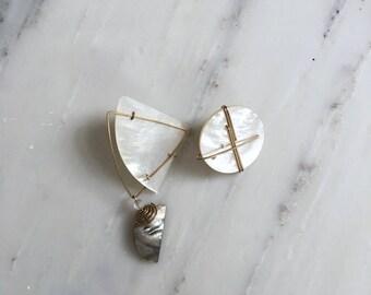 Mneme asymmetrical earrings | 1980s earrings | mother of pearl earrings
