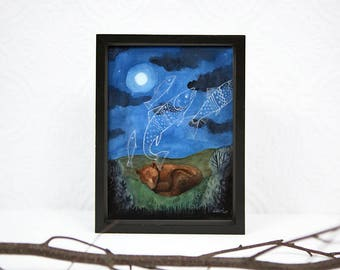 Sleeping Bear, Dreaming of Fish, 5 x 7 PRINT, Moonlight, Night Sky, Dreaming of Food, Animal dreams, Art Illustration, Watercolor Painting