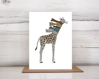 Giraffe with Scarves Holiday card set