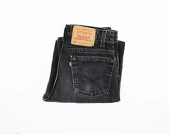 30 X 32: UNISEX Vintage LEVI Strauss and Co.  550 Relaxed Fit Tapered Leg Denim Black Rinse Jeans