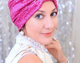 Sequin Turban in Raspberry Pink - Women's Headwrap Turbans - Fashion Hair Wrap for Women - Lots of Colors