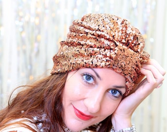 Sequin Turban Hat in Copper - Women's Hair Turbans - Fashion Headwrap - Bohemian Style Accessories