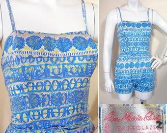 Vintage 1950s Blue Print Bathing Swimsuit or Romper by Rose Marie Reid SZ S
