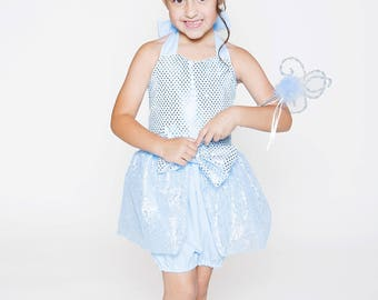 Disney Inspired Cinderella Romper for Infants and Toddlers size newborn to size 6 girls Birthday romper Sequin Bodice