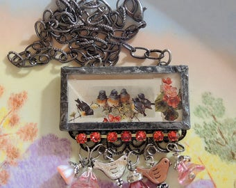 Six Little Birds - Soldered Glass Assemblage Necklace - REDUCED