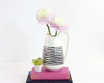Mid Century Modern Royal Haeger Pottery Pitcher / Vintage Modernist Multi Directional Pitcher / Black and White Haeger Ceramic Vase