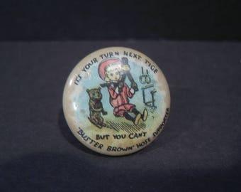 Vintage Buster Brown Hose Supporter Pinback