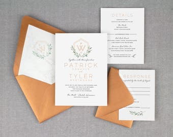 modern copper wedding invitation, metallic copper wedding invitation set, modern  invitations, fall wedding invitation, printed invitations