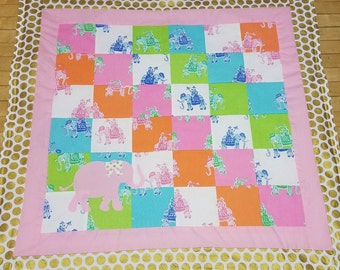 Elephant quilt made with Lilly Pulitzer Lee Jofa Bazaar fabric