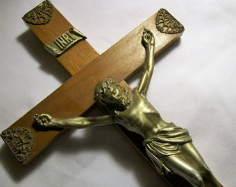 Vintage Crucifix, Vintage Crucifix, Wood Cross, Jesus on the Cross, Religious Crucifix