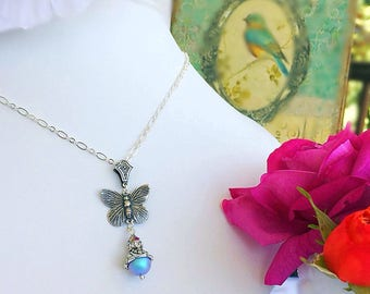 Butterfly Necklace - Silver - Victorian Jewelry - Pearl - ON the WING Blue