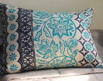 Tropical Stripe Hand Block Printed Floral Indigo and Turquoise blue botanical geometric decorative colorful home decor pillow cover