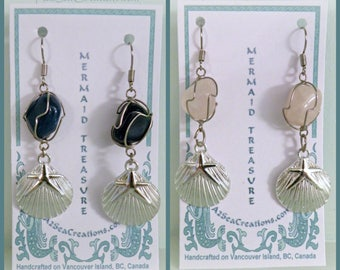 Wire-Wrapped, Gem Stone, Nautical Dangle Earrings