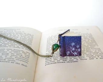 Floral Book Necklace. Miniature dark purple book with white flower and violet  bead