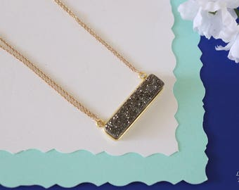 Grey Druzy Necklace Gold, Crystal Necklace, Thin Druzy Pendant, Sideways Druzy, Gold Druzy, Gray Pendant, Natural Stone
