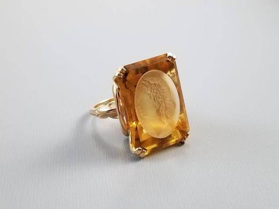 Vintage mid century 14k gold MASSIVE 23.96 carat intaglio cut Bacchante Maenad wine goddess citrine statement ring, size 7