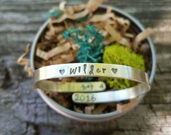 grow into me girls bracelet / sterling silver cuff / baptism gift / adjustable bangle / name cuff / baby shower gift / infant bracelet