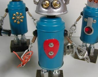 REPAIR TEAM Member #1 Found Object  Robot Sculpture Assemblage
