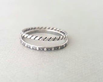 2 Oxidized Rings 1 Polka Dot Ring Band + Flat Twist Ring Band Sterling Silver Stackable Ring Set thin textured silver stacking rings