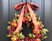 Thanksgiving Decor, Thanksgiving Wreaths, Fall Wreaths, Peony Wreaths, Wreath for Front Door, Fall Door Wreaths, Fall Decorative Wreaths
